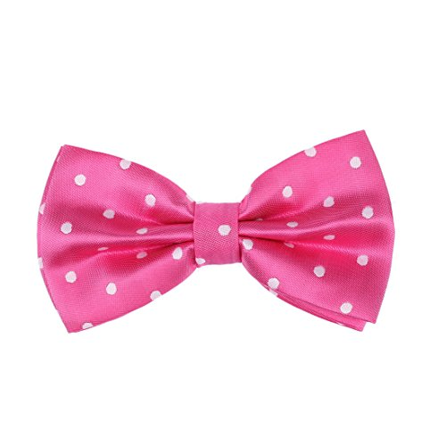 DBD3D01A Hot Pink Polka Dots Woven Microfiber Birthday Gift Idea Pre-tied Bow Tie By Dan Smith (Smith Bow)