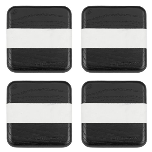 Fleischer & Wolf Square Marble Coasters(Set of 4)-Black Stained Ash with Marble Insert-Furniture Protector- Perfect Friendship Gifts