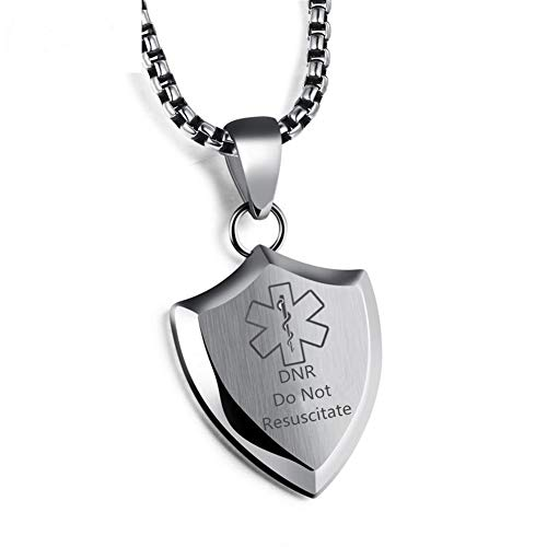 raving Blank Stainless Steel Medical Alert Disease Awareness Identification ID Shield Necklace Pendant,Emergency SOS Life Saver for Adults,Son,Daughter-Silver,Customizable ()