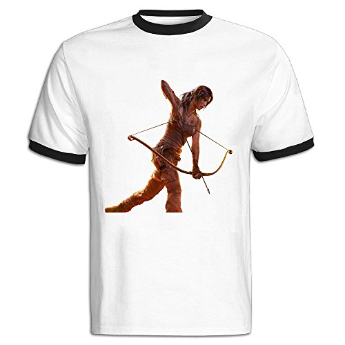 Men's Black Casual Rise Of The Tomb Raider Lara Croft T Shirt US Size S (Grand Theft Auto 5 Minecraft)
