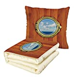 iPrint Quilt Dual-Use Pillow Nautical Decor Porthole on The Wooden Background Window Ship at The Old Sailing Vessel Multifunctional Air-Conditioning Quilt