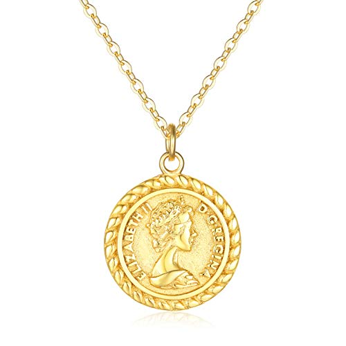 VACRONA Coin Necklace for Women 18k Gold Plated Vintage Coin Round Pendant Necklace Gold Layered Coin Choker Necklace Circle