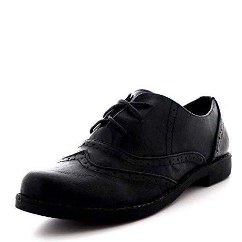 Womens Vintage Flat Wing Tip Office Formal Work Designer Brogue Shoes - Black - US9/EU40 - KL0080G