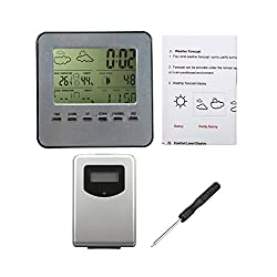 Wireless Digital LCD Weather Thermometer Hygrometer Weather Station Alarm Clock