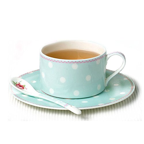 [Set of Coffee Cups & Saucer Ceramic included Spoon British Style Afternoon Tea Polka dot for Business] (But Mommy Costumes)