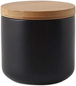 Ceramic Food Storage Jar Canister Modern Design Food Canisters with Airtight Seal Bamboo Lid,Loose Tea Coffee Spice Nuts Snacks Seasonings Storage Jar Canister Caddy (black 7.03oz/200ml)