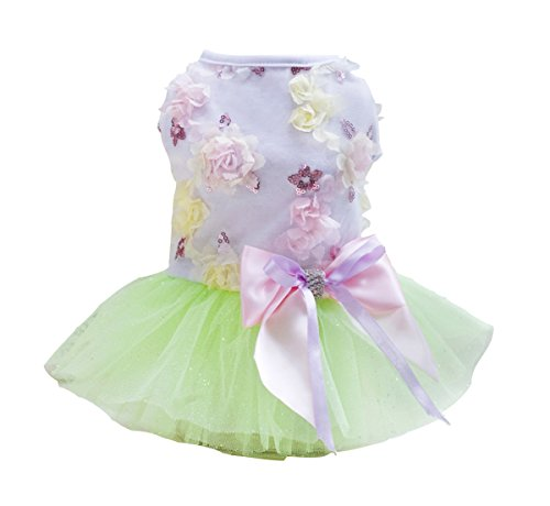 Rdc Pet Dog Dress Puppy Dog Princess Dresses,Tutu Flower and Sequin Dot Wedding Lace Dress Luxury Bow Dress for Small Dog Girl (S, GREEN)