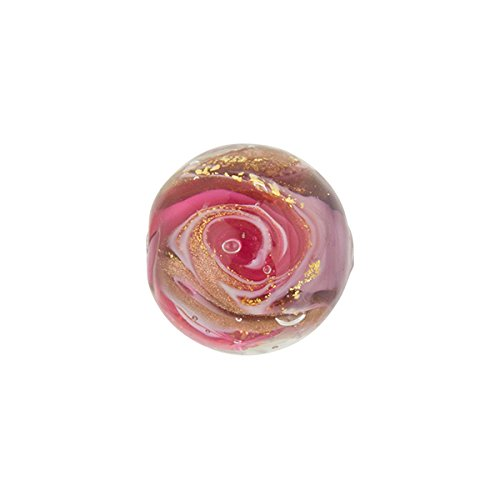 Pink and Purple Aventurina and 24kt Gold Foil Mare Round 14mm Murano Glass Bead Handmade Lampwork ()
