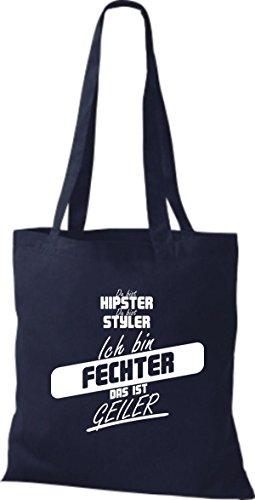 Shirtstown Stoffbeutel du bist hipster du bist styler ich bin Fechter das ist geiler navy