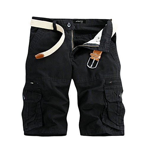 Ratoop Men's Casual Pure Color Outdoors Pocket Beach Work Trouser Cargo Shorts Pant Black ()