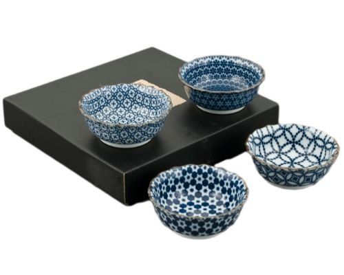 Hinomaru Collection Authentic Japanese Porcelain Small Bowl Set of 4 Perfect for Rice Bowl Snack Dessert Ice Cream Appetizer Made In Japan (Assorted Patterns) by Hinomaru Collection