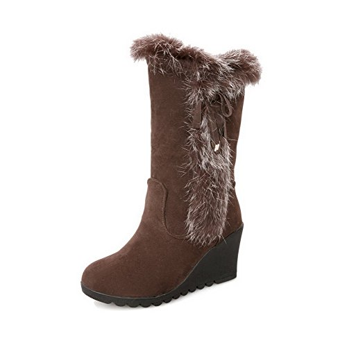AmoonyFashion Womens Round Closed Toe High Heels PU Solid Boots with Fur Ornament and Bowknot Brown zbCUVw