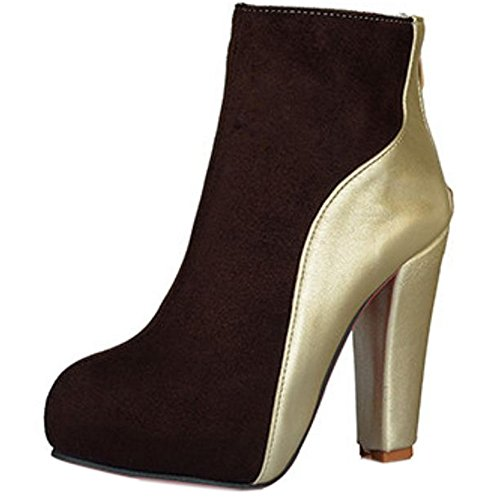 Zipper Booties Brown Women Fashion KemeKiss xq4FwgOF
