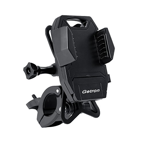 (Bike Phone Mount Bicycle Holder, Getron Universal Cradle Clamp for iOS Android Smartphone GPS GoPro and Other Devices, with One-Button Released, 360 Degrees Rotatable, Silicone Strap)