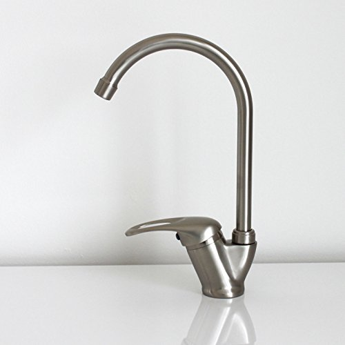 Brushed Steel Nickel Swivel Spout Kitchen Tap Modern Sink Monobloc Faucet...