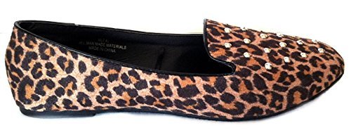 Shoes8teen Womens Faux Suede Loafer Smoking Shoes Flats 3 Colors 103a Leopard znt16ixLA3