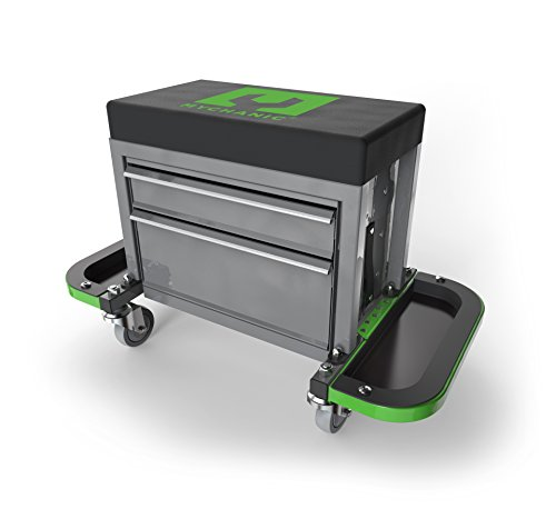MYCHANIC Sidekick Stool - Steel Framed Rolling Toolbox (Roll Work Seat Rugged)