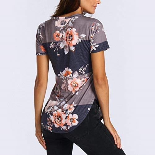 Blouse Courtes Shirt Spcial Manches Qualit Branch Col Chemise De Fleur Haute Impression Rond Mehrfarbig Et Blouse Casual Elgante Mode Femme Top Style Irrgulier XqxrIZXw