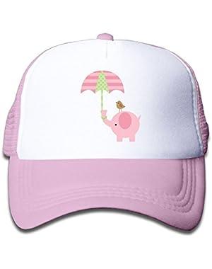 Cute Pink Baby Elephant Mesh Baseball Cap Kid's Trucker Hats Boy and Girls