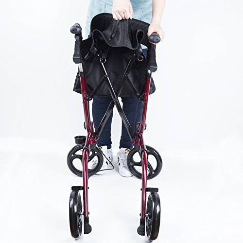 ELENKER Medical Euro Style Four Wheel Walker Rollator Red by ELENKER (Image #6)