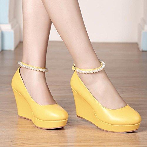 Getmorebeautyupdate Alla Cinturino Donna Yellow Caviglia Con Getmorebeauty g0wtqfdSS