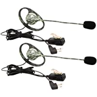1 - 2-Way Radio Accessory (Outfitters Camo GMRS Headset with Microphone & PTT, 2 pk), Mossy oak camo earhook headsets with wind-resistant boom microphone, Great for hunting & outdoor activities, AVPH7