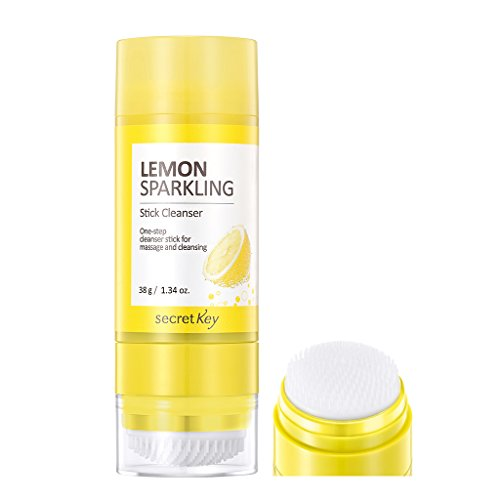 [SECRET KEY] Lemon Sparkling Stick Cleanser 38g - Sensational 7 in 1 Cleansing Stick with Silicone Pore Cleasning Brush, Balm to Bubble Foam One Step Deep Makeup Remover Cleanser, Skin Brightening