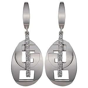 Verona Jewelry Women's 18K White Gold Diamond Dangle Earring