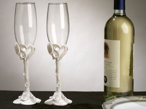 Calla Lily Toasting Glasses (Calla Lily Bridal Shower Favors)