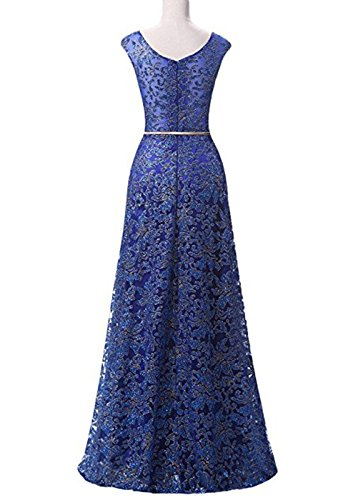 De Maxi Paseo Bola Formal Sin Mujer Mangas Boda Cordón Noche Largo Vestido Blue Vestidos Treasures SXF4T7wq