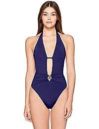 Women's V-Front Keyhole Halter One Piece Swimsuit