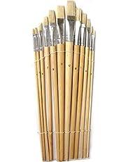 Artist Flat Brushes Set 12 Pcs