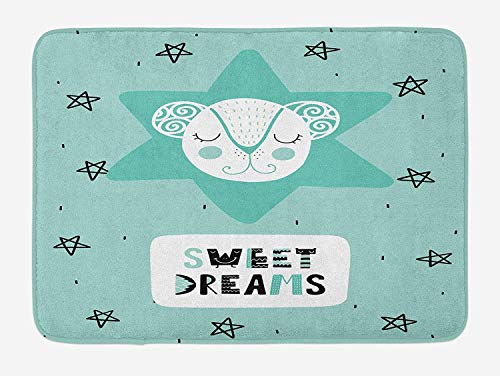 Weeosazg Sweet Dreams Bath Mat, Lettering with Illustration in Scandinavian Style Mouse and Stars, Plush Bathroom Decor Mat with Non Slip Backing, 23.6 W X 15.7 W Inches, Seafoam Black and White ()