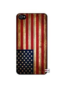 Distressed USA American National Flag iPhone 5 Quality Hard Snap On Case for iPhone 5/5s - AT&T Sprint Verizon - Black Frame
