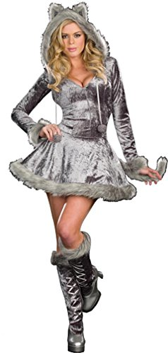 Dreamgirl Women's Sexy Bad Wolf Zip Front Velvet Dress, Gray, Large (Sexy Wolf Adult)
