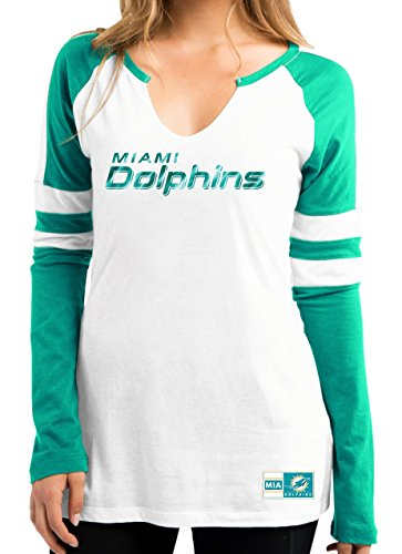 Miami Dolphins Women's Coin Toss V-Notch Long Sleeve T-shirt X-Large