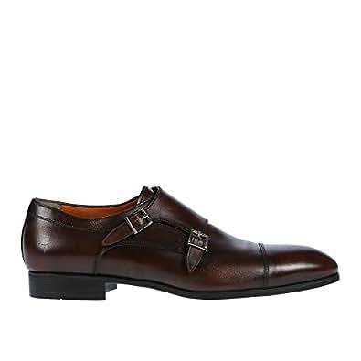 Santoni Men's Shoes Upton Double Monk 10 D Brown
