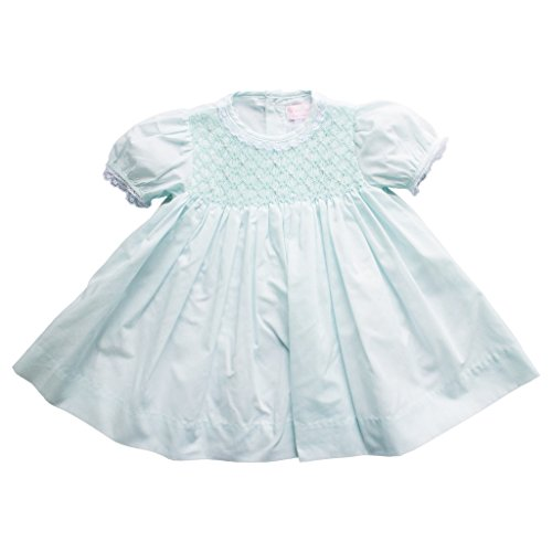 Petit Ami Baby Girls' Fully Smocked Dress with Lace Trim, 3 Months, Mint