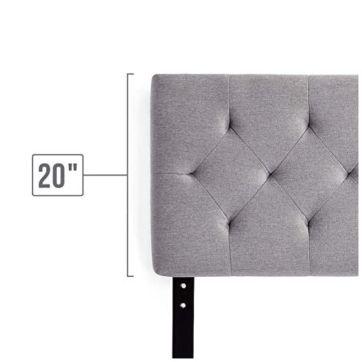 """Bedroom LUCID Mid-Rise Upholstered Headboard – Adjustable Height from 34"""" to 46"""", Queen, Stone modern headboards"""