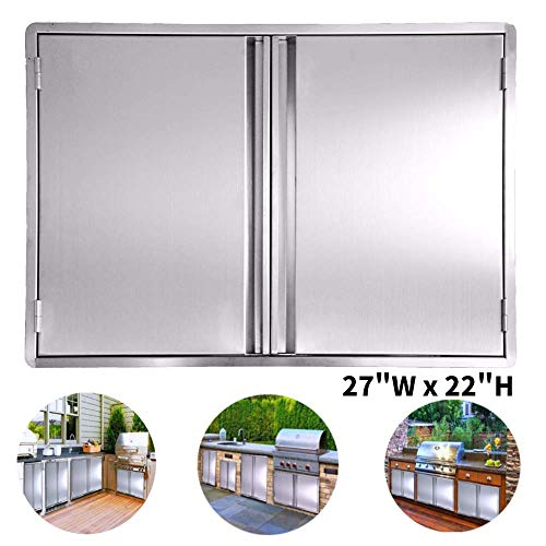 CIOGO BBQ Access Door 27x22 Inch Double Wall Outdoor Kitchen Door, 304 All Brushed Stainless Steel Double BBQ Door for BBQ Island, Outside Cabinet, Barbecue Grill ,Outdoor Kitchen