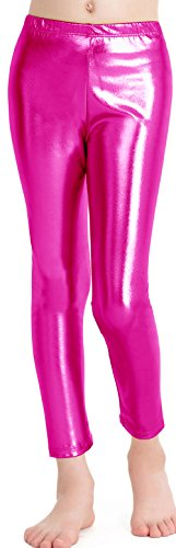 speerise Girls Kids High Waisted Shiny Metallic Dance Fashion Leggings, Hot Pink, 8-10 -