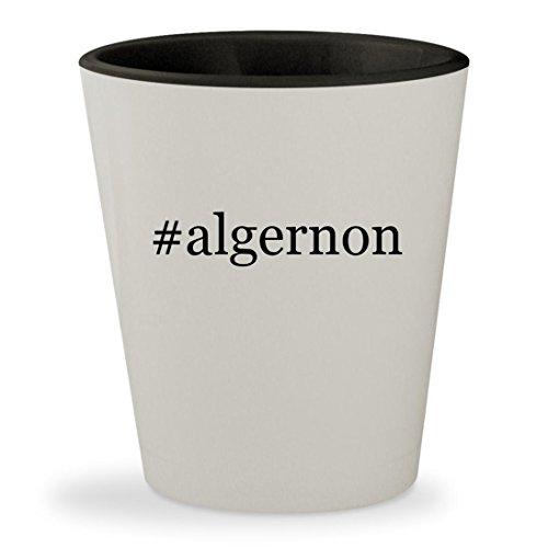 #algernon - Hashtag White Outer & Black Inner Ceramic 1.5oz Shot Glass