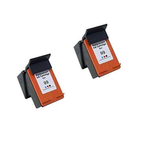 375 Ink (Hp 99 C9369wn Photo Color Inkjet Cartridge Remanufactured for Photosmart 325, 375, 8450, 8150, 2710, 2610, PSC 1600, 1610, 2350, 2355, 2610, 2710, Deskjet 6840, 6540, 6520, 5740-2Pack)