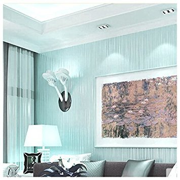 SODIAL(R) Luxury Wall Paper Stripe Wallpaper Home Room Background Decor light Light blue