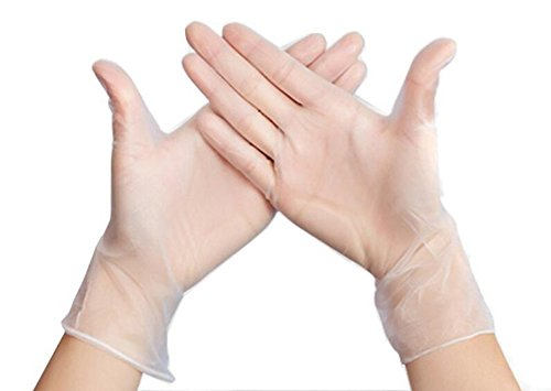 50pcs 25Pairs Clear Disposable Thin Film Gloves 9'' Large PVC Cooking Cleaning Kitchen Food Service Handling Cleaning Food Safety Glove by ASTRQLE