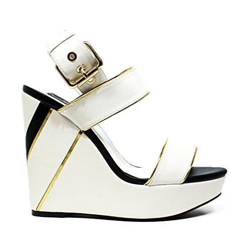 BRACCIALINI B26 BiancoNero zapatos de las sandalias de la cuña, tacón alto, NUEVA COLECCIÓN PRIMAVERA VERANO 2016 CUERO BiancoNero