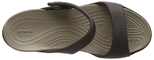 Crocs Mujeres Cleo V Flat Sandal Espresso / Seta