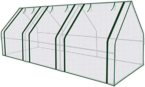 Mini Walk-in Greenhouse 3 Tier 6 Shelves with PE Cover and Roll-Up Zipper Door, Waterproof Cloche Portable Greenhouse Tent-55.9L x 28.3W x 75.59H Inches, Grow Seeds Seedlings, Tend Potted Plants
