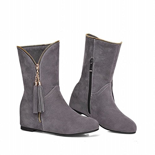 Carolbar Vrouwen Rits Mode Eenvoudige Hanger Kwastjes Verborgen Hak Korte Laarzen Grijs