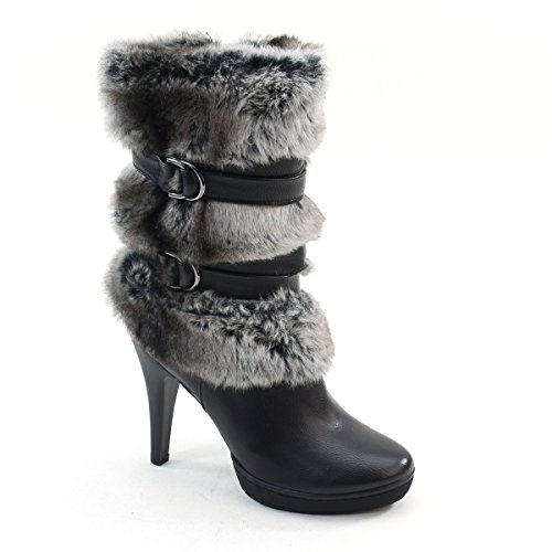 New Brieten Womens Artificial Fur Buckles High Heel Platform Short Boots 3c6yZ
